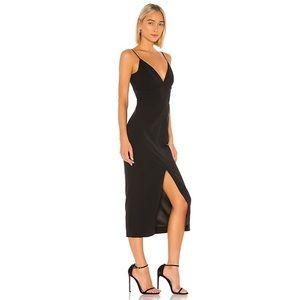BARDOT Dianna Plunge Slit Midi Dress In Black